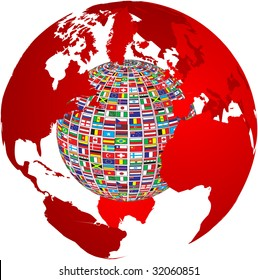 (raster image of vector) transparency world map with country flags on it