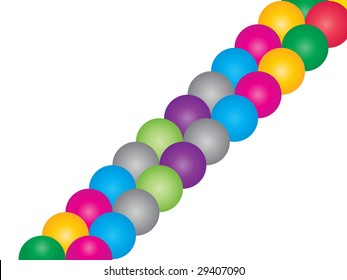 (raster image of vector) two rows of colorful balls