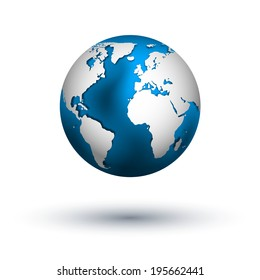 Raster isolated globe icon of the world.