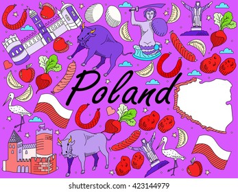 Raster line art Doodle set of cartoon characters and objects on Poland.