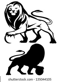 raster - lion holding a ball - black and white outline and silhouette (vector version is available in my portfolio)
