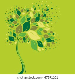 RASTER modern design - tree symbol from colorful leafs