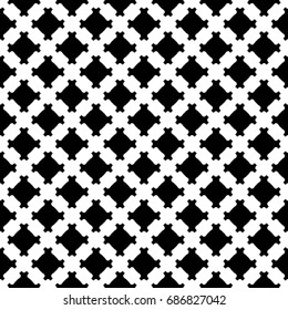 Raster monochrome texture, geometric black & white seamless pattern, simple square background with diagonal lattice. Design element for prints, decoration, textile, fabric, furniture, clothes, apparel