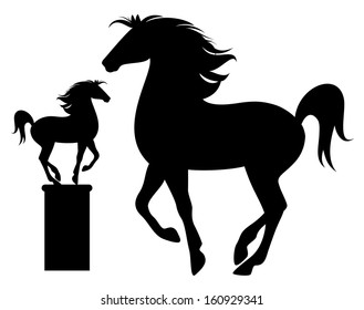 raster - prancing horse black silhouette - detailed outline over white (additional format also available)