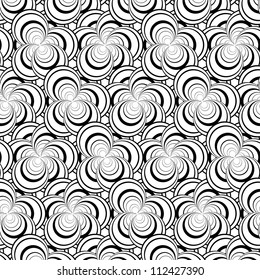 raster seamless black and white floral pattern background