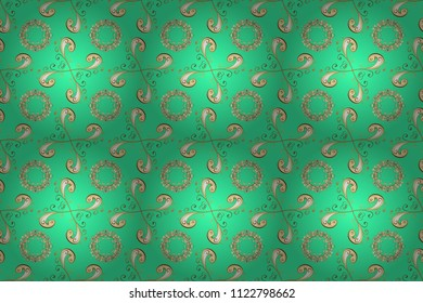 Raster seamless pattern with gold antique floral medieval decorative, leaves and golden pattern ornaments on green, beige and yellow colors. Seamless royal luxury golden baroque damask vintage.