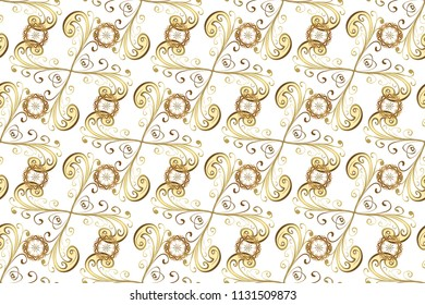Raster seamless pattern on white, beige and yellow colors with golden elements. Damask seamless pattern for design.