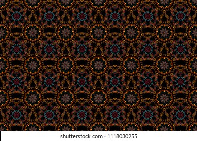 Raster seamless pattern in red, blue and orange colors on black background. Snowflakes winter New Year frame.