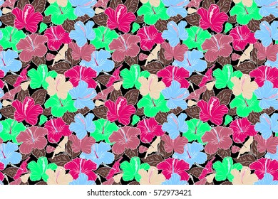 Raster seamless pattern of tropical hibiscus flowers in pink, magenta and green colors with watercolor effect on black background.