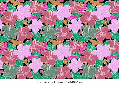 Raster seamless pattern of tropical hibiscus flowers in pink, green and orange colors with watercolor effect on black background.