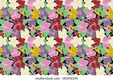 Raster seamless pattern of tropical hibiscus flowers in purple, yellow and red colors with watercolor effect on black background.