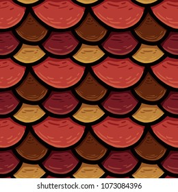 raster seamless texture of the roof cover, tile of circles, colorful fish scales