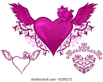 raster - set of beautiful hearts - elements for Valentine's day design (vector version is available in my portfolio)