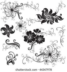 "RASTER Set of black floral design elements (from my ""Big floral collection"")"