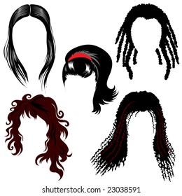 RASTER set of brunette hair style samples for woman