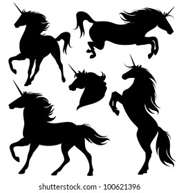 raster - set of fine unicorn silhouettes - running, rearing and jumping magic horses (vector version is available in my portfolio)