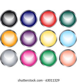 Raster Set of Glossy Web Buttons