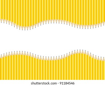 Raster Set of Sharpened Pencils Background with Copy Space