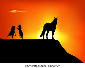 raster silhouette of wild horses in the sunset, vector version available