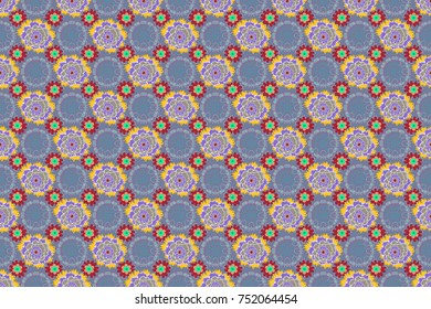 Raster sketched flower print in yellow, blue and gray colors - seamless background.
