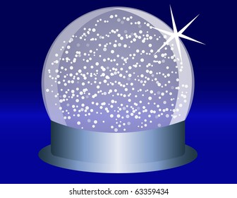 Raster Snowglobe on a Blue Steel Base With Falling Snow