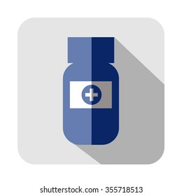 Raster square icon of medical vial, isolated on the white background