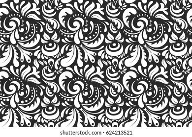 Raster stylish ornament. Damask seamless doodle pattern in gray and white colors. Royal wallpaper with abstract doodles.