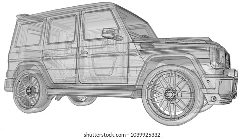 Raster three-dimensional illustration of the car Mercedes-Benz G-class. Tuning version of the car from the Studio BRABUS with increased power and aggressive sports design. 3d rendering.