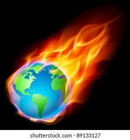 Raster version. Abstract burning earth.  Illustration on black background