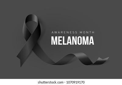 Raster version. Banner with Melanoma Cancer Awareness Realistic Black Ribbon. Design Template for Info-graphics or Websites Magazines on Dark Background