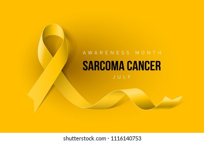 Raster version. Banner with Sarcoma Cancer Awareness Realistic Yellow Ribbon. Design Template for Info-graphics or Websites Magazines on Yellow Background