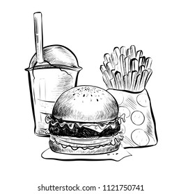 Raster version. Big Hamburger or Cheeseburger, French Fries, Soda Cup with Straw and Lid. Burger Logo. Isolated On a White Background. Realistic Doodle Cartoon Style Hand Drawn Sketch Illustration