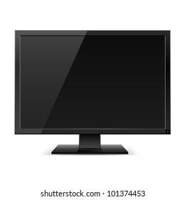 Raster version. Black LCD TV monitor. Illustration on white background