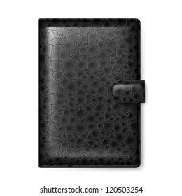 Raster version. Black leather wallet. Illustration on white background