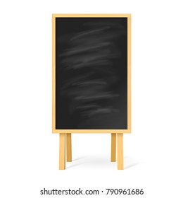 Raster version. Blackboard with Wooden Easel on White Background