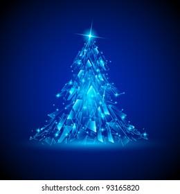 Raster version. Blue Christmas tree. Broken glass. Illustration for design.