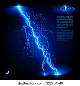 Raster version. Blue oblique branchy lightning line. Illustration with space for text