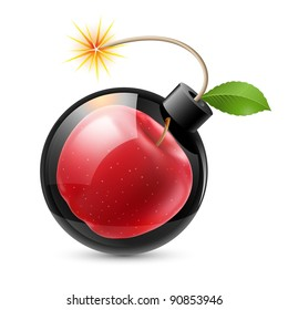 Raster version. Bomb with an apple. Illustration on white background