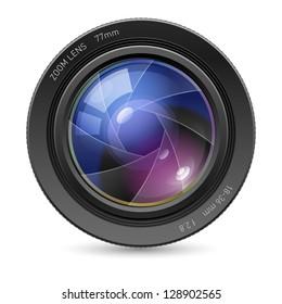 Raster version. Camera icon Lens. Illustration on white background