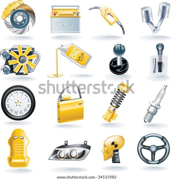 Raster version of car parts icon set