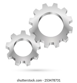 Raster version. Chrome gearwheel isolated on white background for design