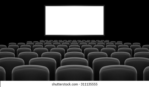 Raster version. Cinema hall with white screen and gray  row chairs