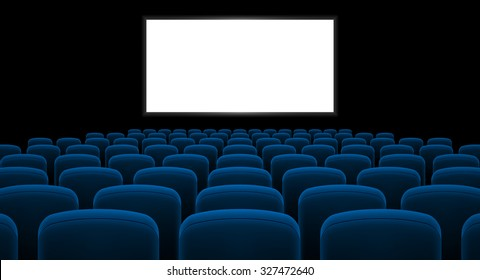 Raster version. Cinema hall with white screen and blue row chairs