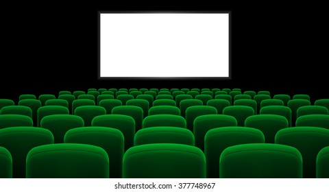 Raster version. Cinema hall with white screen and green row chairs
