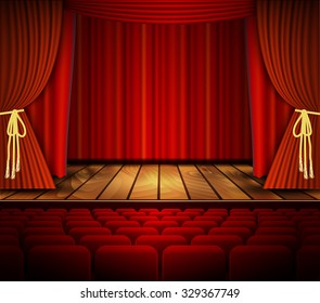 Raster version. Cinema or theater scene with a curtain. .