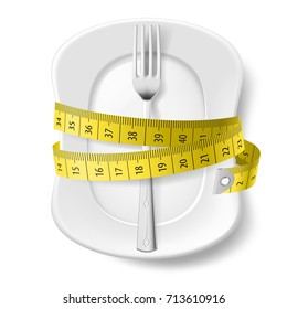 Raster version. Clean Plate with Measuring Tape and Fork as Diet Concept. Illustration on White