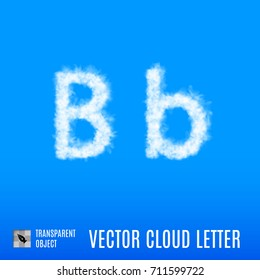 Raster version. Clouds in Shape of the Letter B on Blue Background