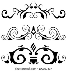 raster version: decorative elements - Elements for design in vintage style to embellish your layout