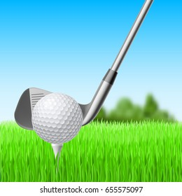 Raster version. Detail of a Golf Club and Ball with Green Meadow