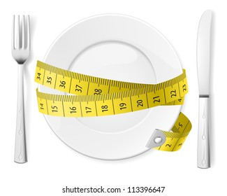 Raster version. Diet concept. Plate with knife, fork and measure tape